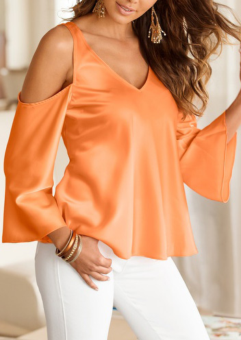 solid off shoulder v-neck fashion blouse without necklace