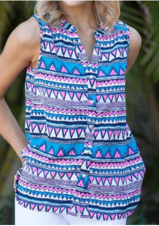 Geometric Printed Button Sleeveless Fashion Shirt