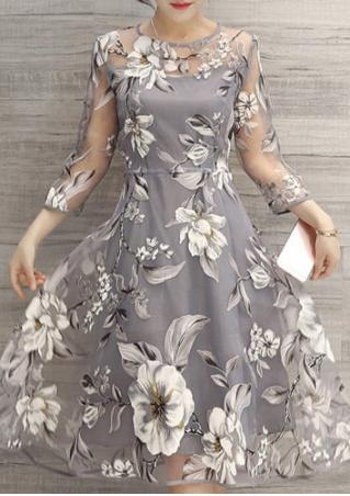 Floral Organza Splicing Midi Dress Without Necklace