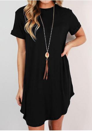 Solid Casual Mini Dress Without Necklace