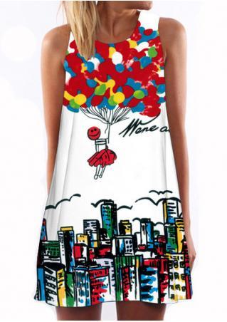 Printed Sleeveless Casual Shift Dress