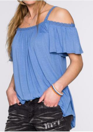 Solid Ruffled Slash Neck Fashion Blouse Without Necklace