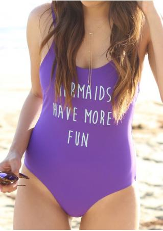 Letter Backless Sexy One-Piece Swimsuit Without Necklace