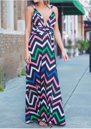 Zigzag Printed Backless Sexy Maxi Dress