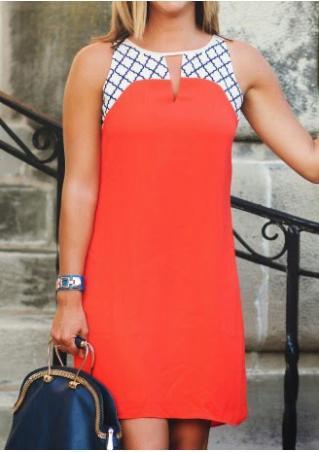 Printed Splicing Sleeveless Casual Mini Dress