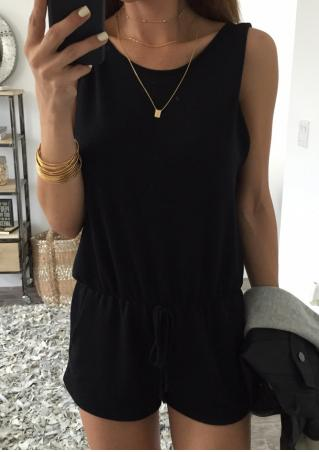 Solid Backless Fashion Romper Without Necklace