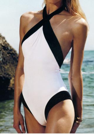 Color Block Backless Sexy One-Piece Swimsuit