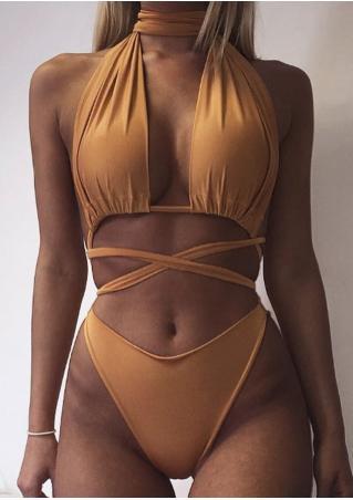 Solid Bandage Bikini Set