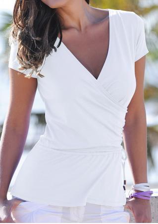 Solid Cross Ruffled Short Sleeve Fashion Blouse