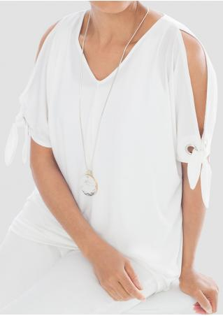 Solid Knot Off Shoulder Fashion Blouse Without Necklace