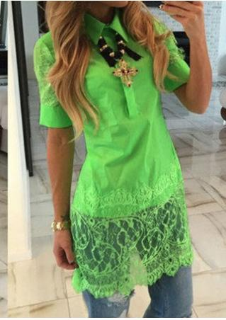 Solid Lace Splicing Fashion Shirt Without Necklace