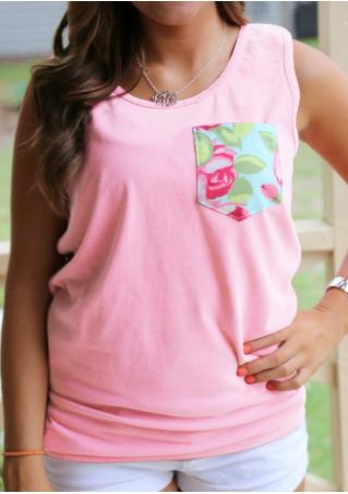 Floral Pocket Fashion Tank Without Necklace