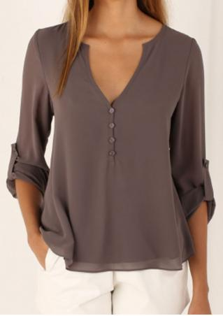 Solid Button Irregular Fashion Blouse