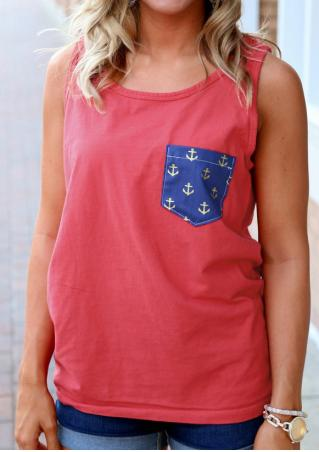 Anchor Printed Pocket Fashion Tank Without Necklace