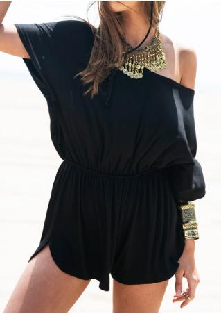Solid Slash Neck Sexy Romper Without Necklace