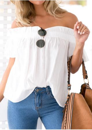 Solid Ruffled Slash Neck Short Sleeve Fashion Blouse