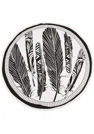 Leaf Printed Tassel Round Blanket