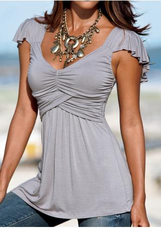 Solid Ruffled Deep V-Neck Fashion Blouse Without Necklace