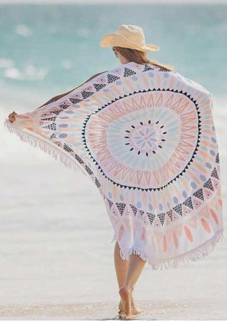 Geometric Printed Tassel Round Beach Blanket