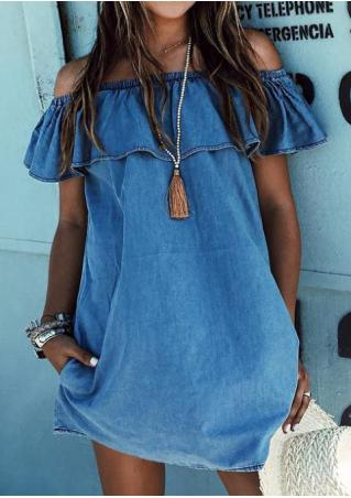 Solid Ruffled Denim Shift Dress Without Necklace