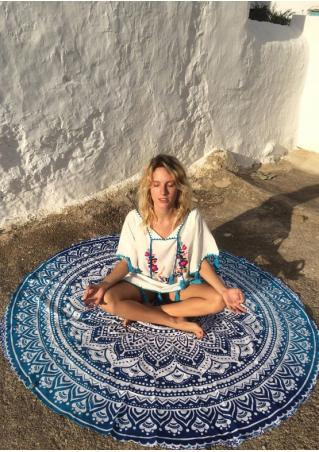 Printed Trendy Round Yoga Blanket