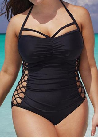 Solid Cross Hollow Out Halter One-Piece Swimsuit