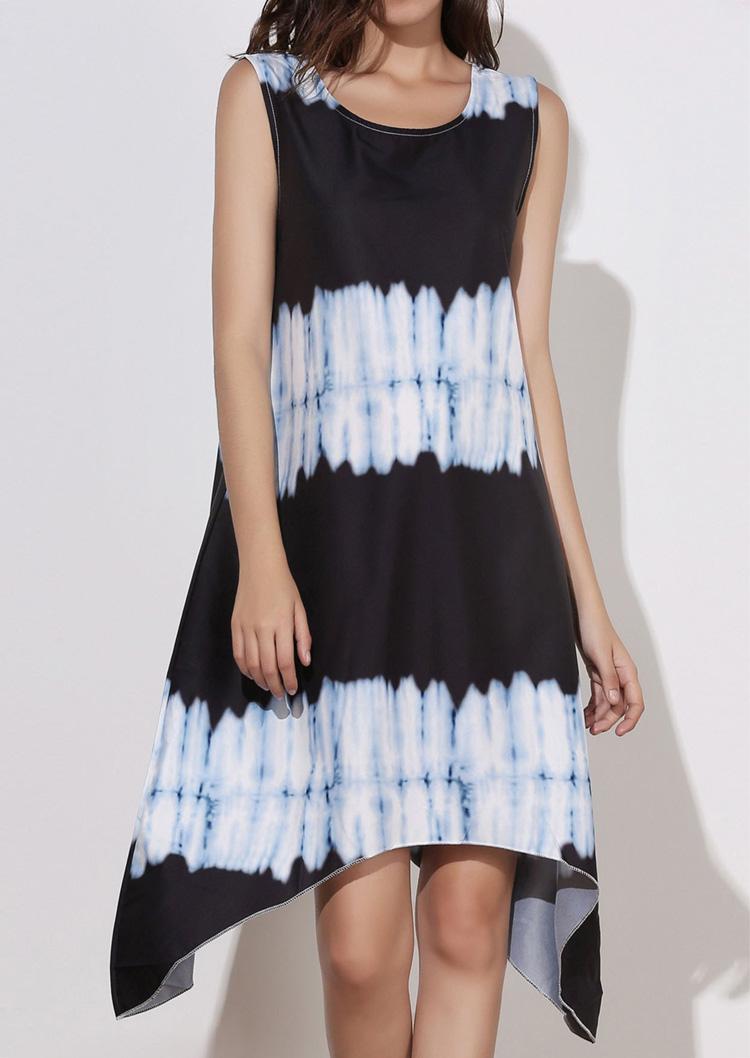 Printed Irregular Sleeveless Casual Dress 19764