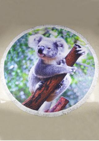 Koala Bird Flower Printed Round Beach Blanket