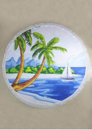 Coconut Tree Pineapple Printed Round Blanket