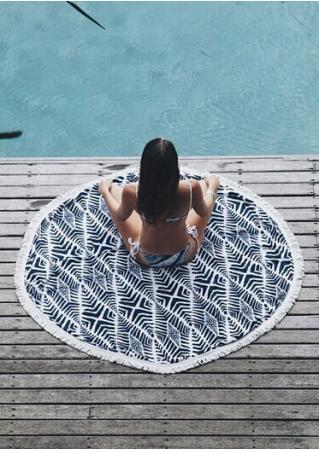 Geometric Tassel Round Beach Blanket