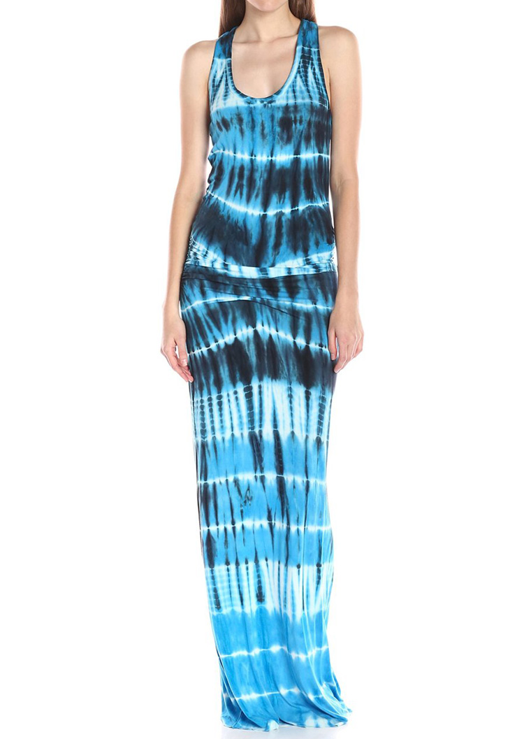 Printed Racerback Casual Maxi Dress - Bellelily
