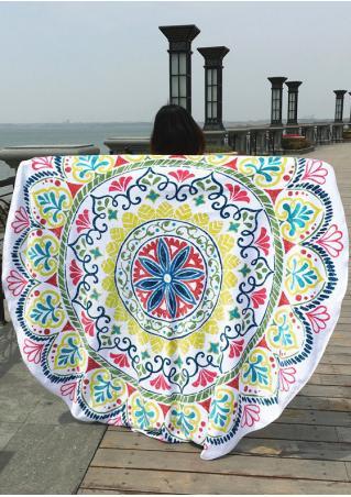 Mandala Multicolor Printed Round Blanket