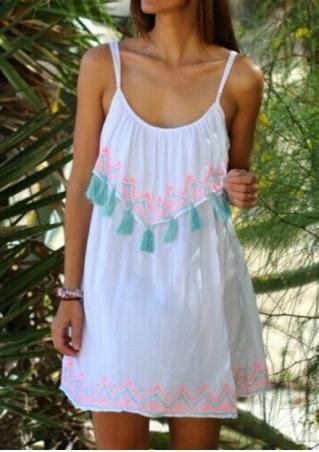 Printed Tassel Mini Strap Dress