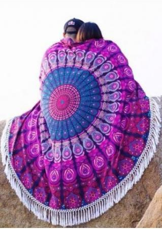 Mandala Printed Tassel Round Beach Blanket