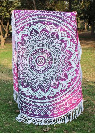 Mandala Printed Tassel Splicing Round Beach Blanket