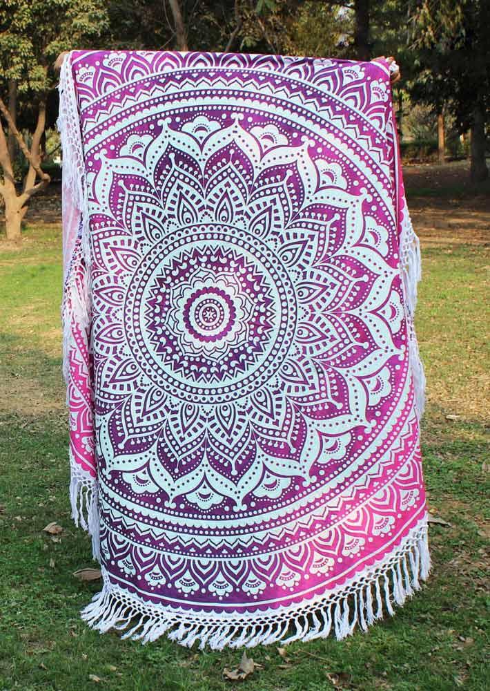 Mandala Printed Tassel Splicing Round Blanket
