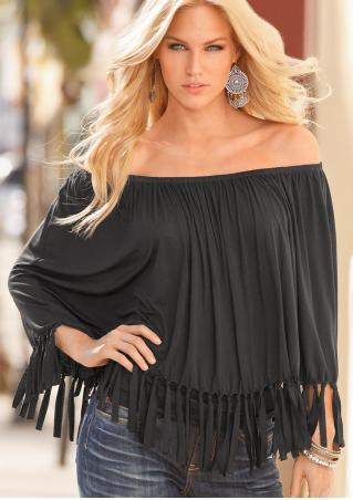 Solid Tassel Off Shoulder Fashion Blouse