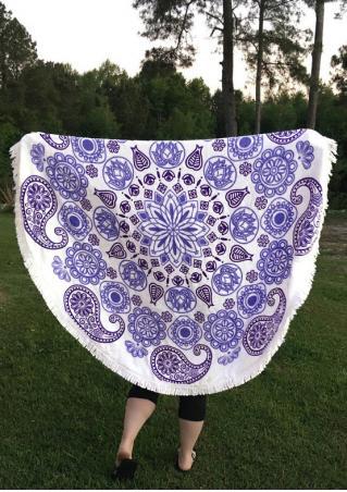 Paisley Printed Round Beach Blanket