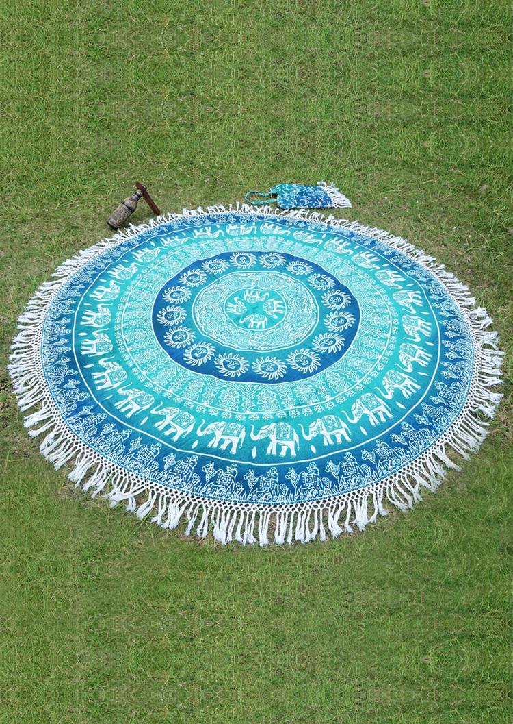 Mandala Elephant Round Picnic Blanket