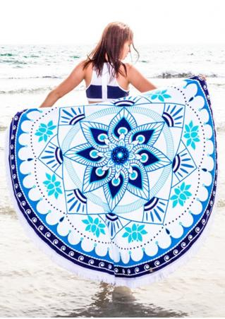 Mandala Flower Round Beach Blanket