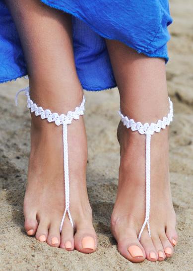 Solid Crochet Barefoot Sandals