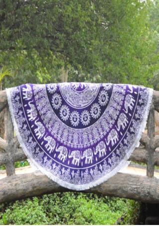 Mandala Elephant Tassel Round Beach Blanket