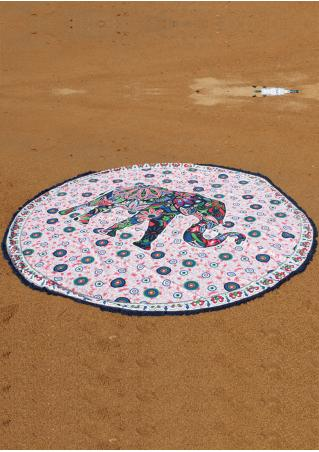 Mandala Elephant Pattern Round Beach Blanket