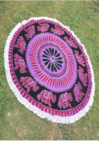 Mandala Elephant Printed Round Beach Blanket