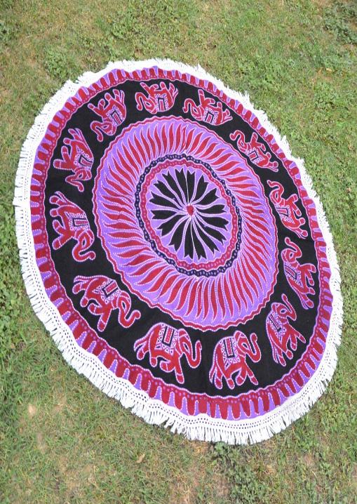 Mandala Elephant Printed Round Picnic Blanket