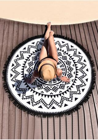 Mandala Geometric Tassel Round Beach Blanket