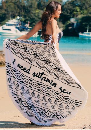 Letter Printed Tassel Round Beach Blanket