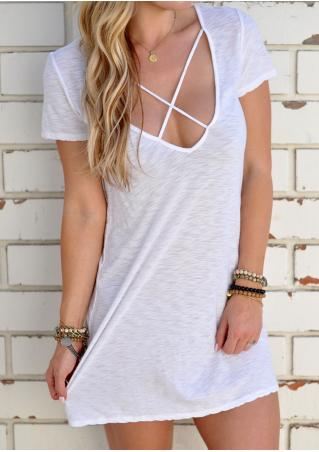 Solid Cross V-Neck Mini Dress Without Necklace