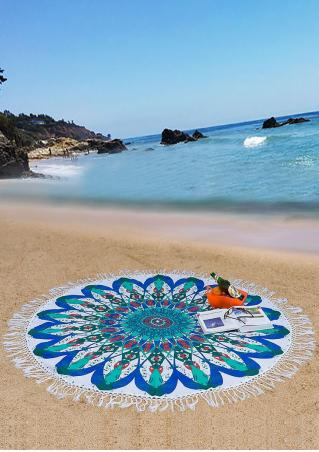 Mandala Flower Elephant Round Beach Blanket