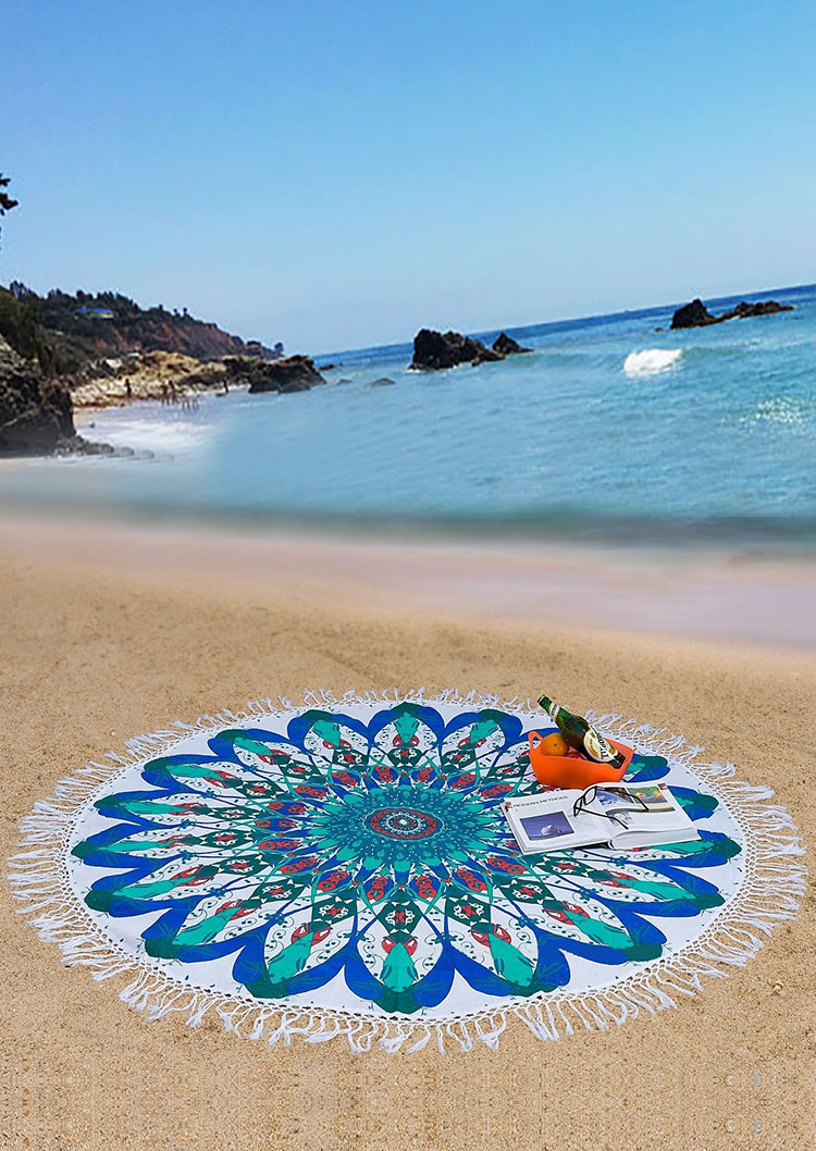 Mandala Flower Elephant Round Beach Blanket